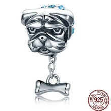 Load image into Gallery viewer, Sterling Silver Dangling Bone Blue Collar Bulldog Bead Charm