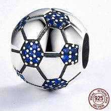 Load image into Gallery viewer, Sterling Silver & Blue Cubic Zirconia Soccer Ball Bead