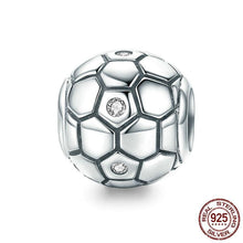 Load image into Gallery viewer, Sterling Silver & Cubic Zirconia Soccer Ball Bead
