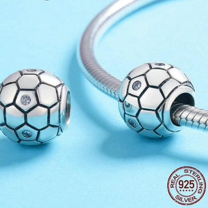 Sterling Silver & Cubic Zirconia Soccer Ball Bead