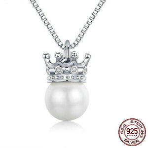 Sterling Silver Princess Crown Pearl Necklace