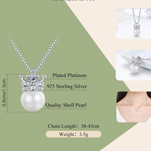 Load image into Gallery viewer, Sterling Silver Princess Crown Pearl Necklace