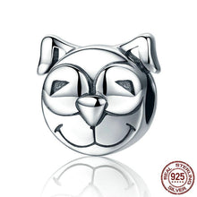 Load image into Gallery viewer, Sterling Silver Happy Smiley Dog Bead Charm