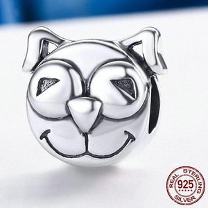 Sterling Silver Happy Smiley Dog Bead Charm
