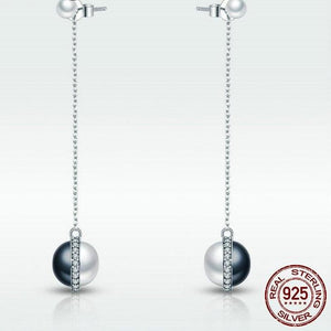 Sterling Silver Black & White Pearl Drop Earrings