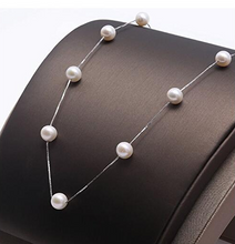 "Load image into Gallery viewer, Pearl & Sterling Silver Box Chain Necklace in 16"" or 18"" Lengths"
