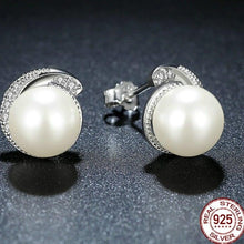Load image into Gallery viewer, Sterling Silver Spiral CZ and Shell Pearl Earrings