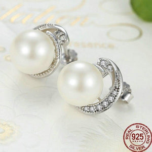Sterling Silver Spiral CZ and Shell Pearl Earrings