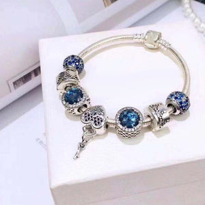 "Sterling Silver ""Key to Your Heart"" Blue Jewel Snake Chain Bracelet - SPECIAL OFFER!!"