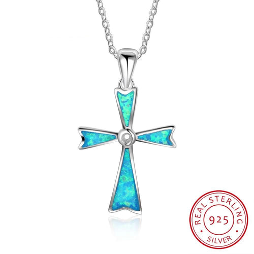 Genuine 925 Sterling Silver Necklace with a beautiful simulated blue opal cross, Christian Cross, Sterling Silver Cross, Woman's Cross, Religious Cross, 100Sterling.com