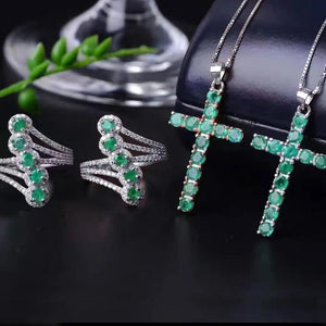 Genuine 12-Emerald & Sterling Silver Cross Pendent Necklace with Matching 5-Emerald Ring