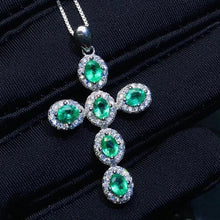 Load image into Gallery viewer, Genuine Emerald & Sterling Silver Cross Pendent Necklace, Emerald necklace, Emerald Cross, Religious Cross, Catholic Cross, Communion gift, Confirmation Gift, Anniversary gift, Emeralds, Genuine Emeralds, Natural Emeralds, Sterling Silver Emerald Necklace, 100Sterling.com, Cross