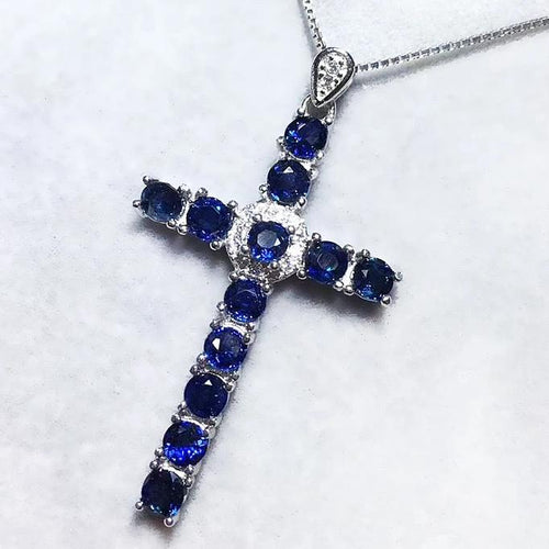 Genuine Sapphire & Sterling Silver Cross Pendent Necklace