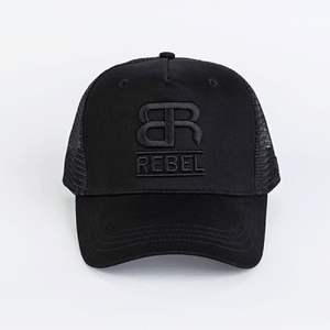 Back Row Rebel Mesh Trucker Cap in All Black - Man - bloke-white-denim