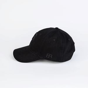 Back Row Rebel Curved Peak Classic Cap in All Black - Man - bloke-white-denim