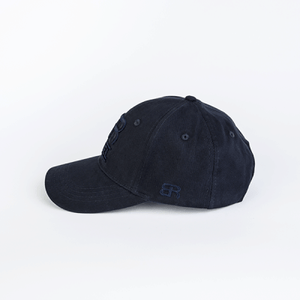 Back Row Rebel Curved Peak Classic Cap in All Navy - Man - bloke-white-denim