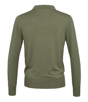 King & Tuckfield Knitted Long Sleeve Polo Shirt in Clover Green - Man - bloke-white-denim