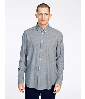 Samsoe and Samsoe Liam Speckle Shirt in Sapphire Blue - Man - bloke-white-denim