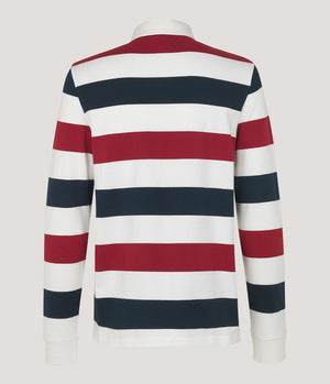 Samsoe and Samsoe Albee Striped Rugby Shirt - Man - bloke-white-denim