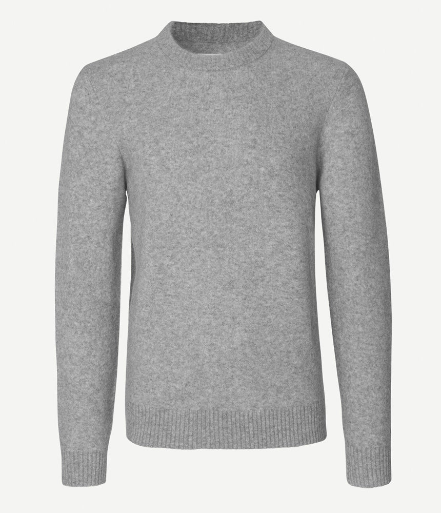 Samsoe Samsoe Butler Knitted Crew Neck in Grey Marl