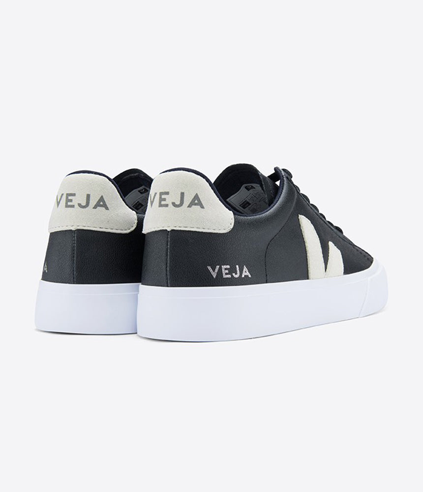Veja Campo Chromefree Leather Trainers in Black & Natural