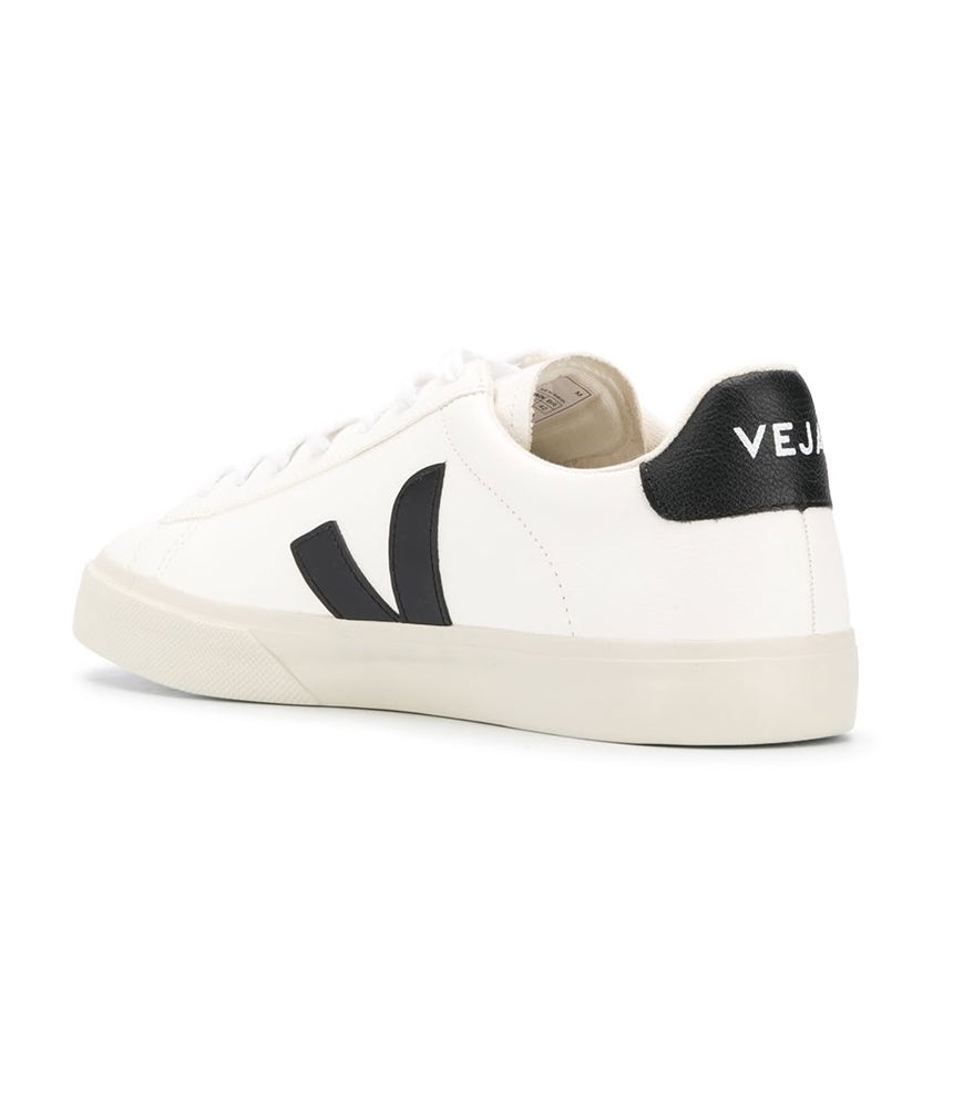 Veja Campo Chromefree Leather Trainers in White & Black