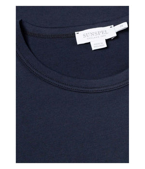 Sunspel Short Sleeve Classic Crew Tee in Navy - Man - bloke-white-denim
