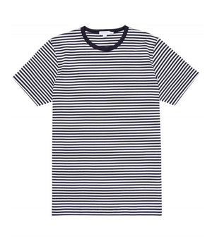 Sunspel Short Sleeve Classic Crew Tee in White & Navy Stripe - Man - bloke-white-denim