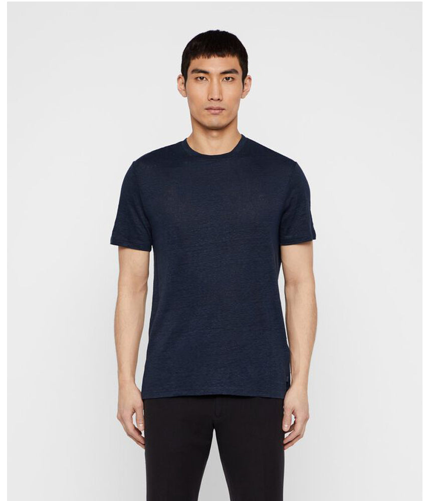 J.Lindeberg Coma Linen T-Shirt in Navy