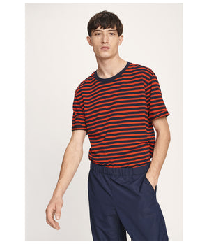 Samsoe and Samsoe Emmo Striped Tee in Fiery Red & Navy - Man - bloke-white-denim