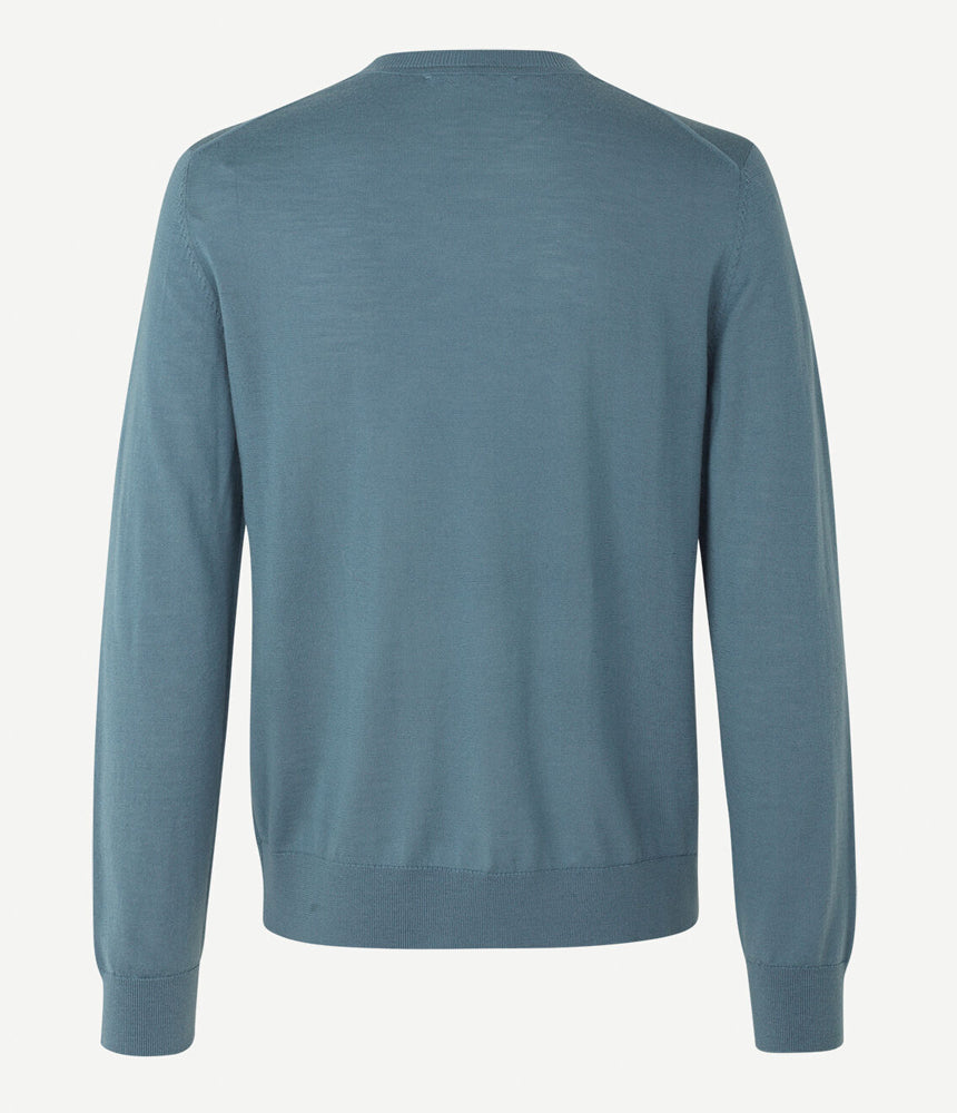 Samsoe Samsoe Flemming Merino Crew Neck in Blue Mirage