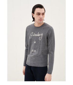 Bella Freud 'Ginsberg Is God' Knitted Jumper in Grey Marl