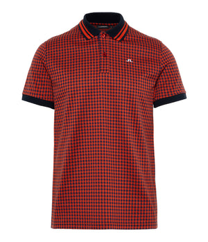 J.Lindeberg Julian Pique Polo Shirt in Navy & Orange Check