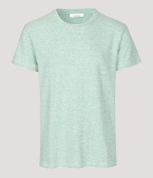 Samsoe And Samsoe Kronos Striped Tee in Cream and Green - Man - bloke-white-denim