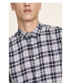 Samsoe Samsoe Liam Shirt in Dark Sapphire Check - Man - bloke-white-denim