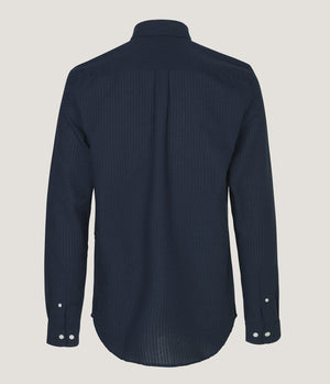 Samsoe Samsoe Liam Textured Stripe Shirt in Dark Sapphire - Man - bloke-white-denim