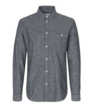 Samsoe and Samsoe Liam Shirt in Dark Sapphire Melange - Man - bloke-white-denim