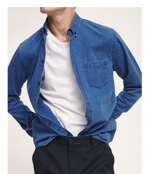Samsoe Samsoe Liam Denim Shirt in Dark Sapphire - Man - bloke-white-denim