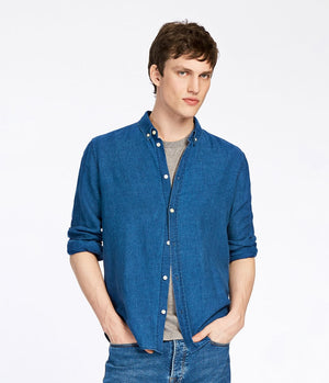 Samsoe and Samsoe Liam Shirt in Blue Denim - Man - bloke-white-denim