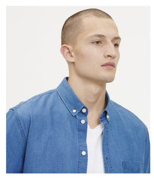 Samsoe Samsoe Liam Denim Shirt In Washed Blue -  - bloke-white-denim
