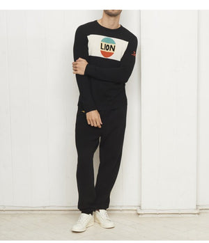 Bella Freud 'Lion' Stripe Knitted Jumper in Black - Man - bloke-white-denim