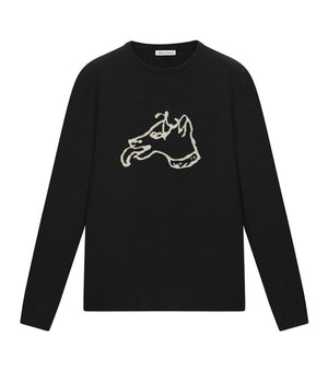 Bella Freud Dog Knitted Jumper in Black
