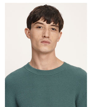 Samsoe and Samsoe Musco Waffle Knit in Mallard Green - Man - bloke-white-denim
