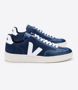Veja V-12 Suede & Leather Trainers in Midnight Blue & White - Man - bloke-white-denim