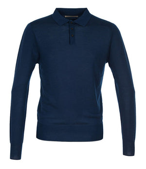 King & Tuckfield Knitted Long Sleeve Polo Shirt in Navy - Man - bloke-white-denim