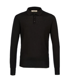 King & Tuckfield Knitted Long Sleeve Polo Shirt In Black - Man - bloke-white-denim