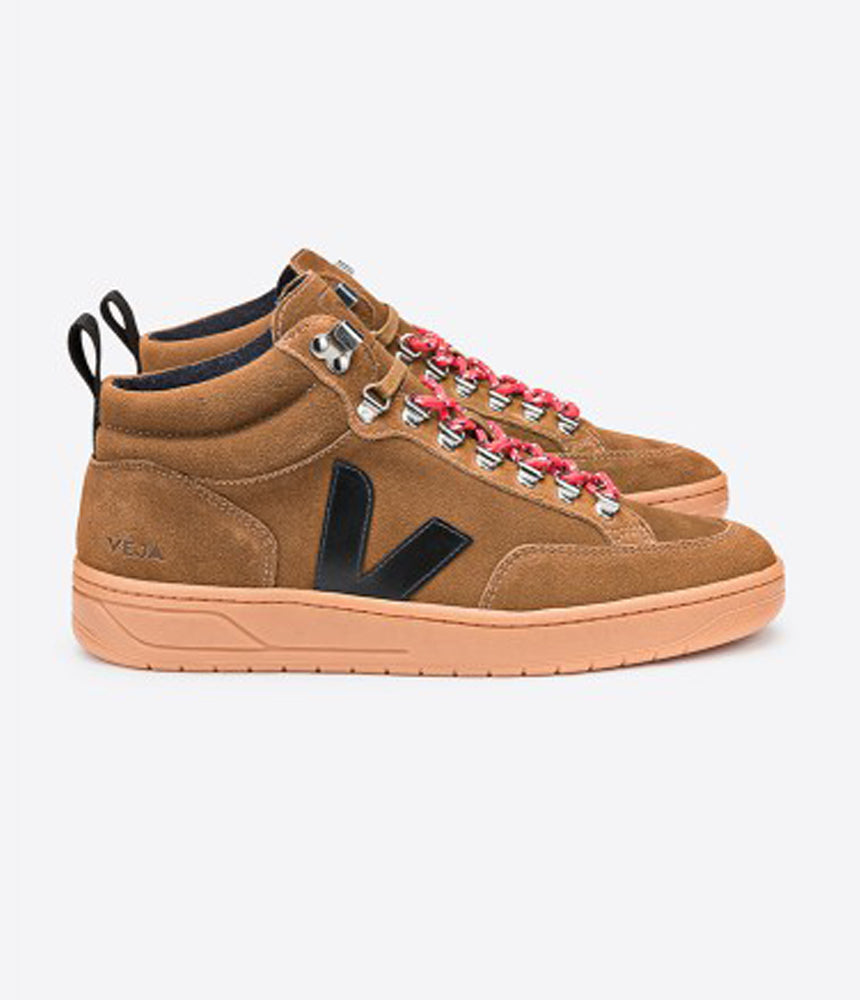 Veja Roraima Suede Mid-Tops in Brown, Black & Natural Sole
