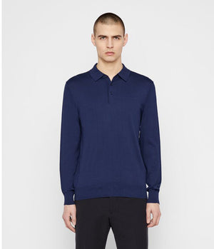 J.Lindeberg Rowan Silk Mix Polo Shirt in Mid Blue