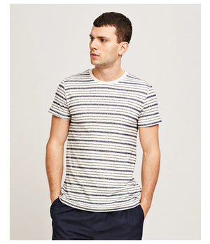 Samsoe Samsoe Playa Tee in Clear Cream Stripe - Man - bloke-white-denim
