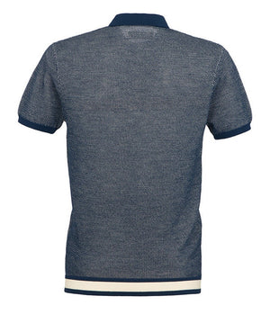 King & Tuckfield Textured Knitted Polo Shirt in Navy & Ecru - Sale - bloke-white-denim